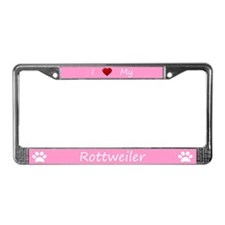 Pink I Love My Rottweiler License Plate Frame
