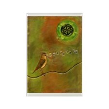 Cute Bird on a wire Rectangle Magnet