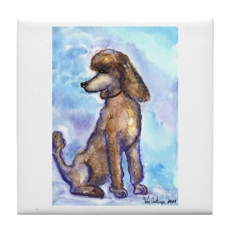 Brown Poodle Gifts Tile Coaster