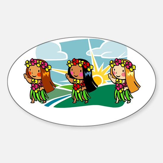 Sweet Hula Babes Oval Bumper Stickers