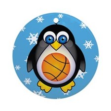 Basketball Penguin Sports Ornament (Round)