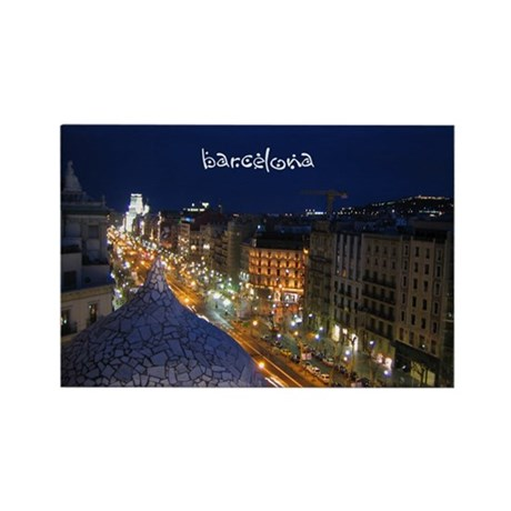 Barcelona (at night) Rectangle Magnet (10 pack)