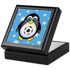 Sports Penguin Soccer Keepsake Box