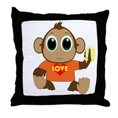 Love Monkey Throw Pillow