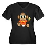 Love Monkey Women's Plus Size V-Neck Dark T-Shirt