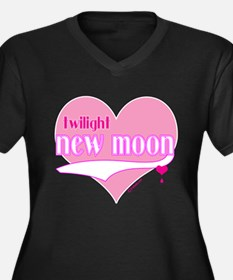 New Moon Pink Hearts Women's Plus Size V-Neck Dark