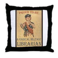 Radical Militant Librarian Throw Pillow