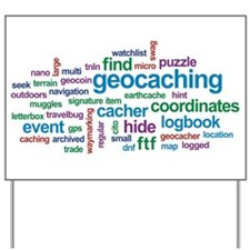 Geocaching Word Cloud Yard Sign