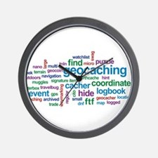 Geocaching Word Cloud Wall Clock