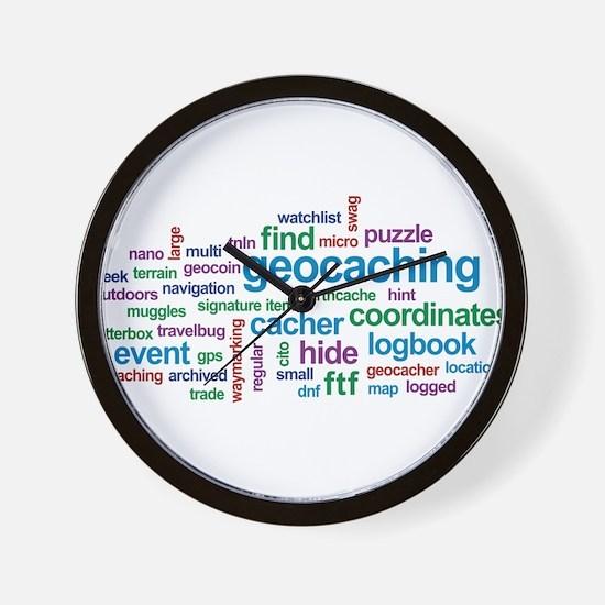 Geocaching Word Cloud Wall Clock