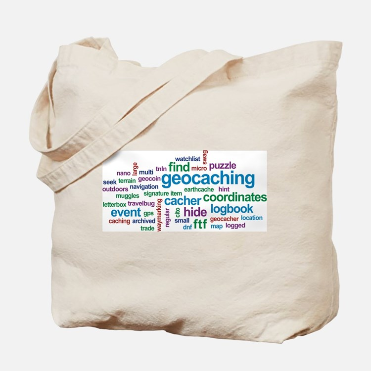 Geocaching Word Cloud Tote Bag