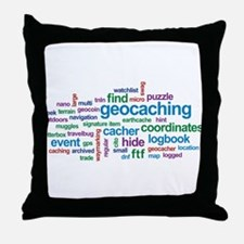 Geocaching Word Cloud Throw Pillow