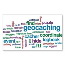 Geocaching Word Cloud Rectangle Decal