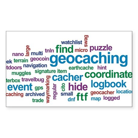 Geocaching Word Cloud Rectangle Sticker