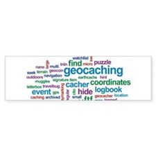 Geocaching Word Cloud Bumper Bumper Sticker