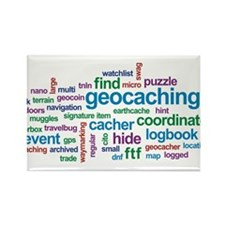 Geocaching Word Cloud Rectangle Magnet (10 pack)