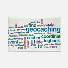 Geocaching Word Cloud Rectangle Magnet