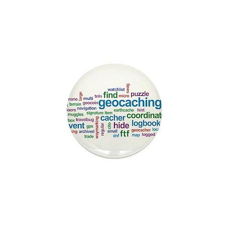 Geocaching Word Cloud Mini Button