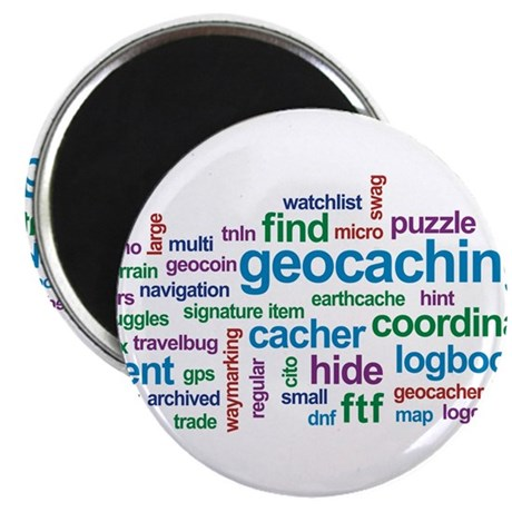 Geocaching Word Cloud Magnet