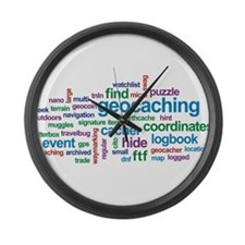 Geocaching Word Cloud Large Wall Clock
