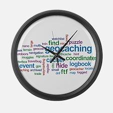 Geocaching Word Cloud Large Wall Clock