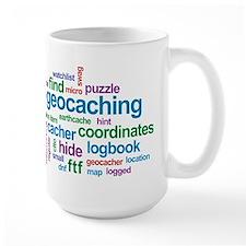 Geocaching Word Cloud Ceramic Mugs