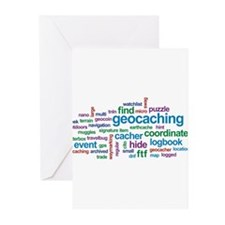 Geocaching Word Cloud Greeting Cards (Pk of 20)