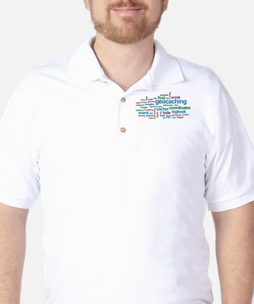 Geocaching Word Cloud Golf Shirt
