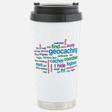 Geocaching Word Cloud Travel Mug