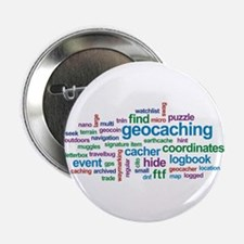 """Geocaching Word Cloud 2.25"""" Button (100 pack)"""