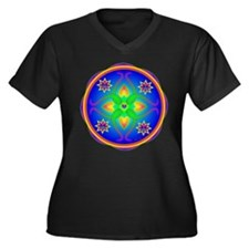 Healing Mandala Women's Plus Size V-Neck Dark T-Sh