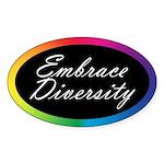 EMBRACE DIVERSITY Oval Sticker