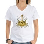 Golden Winged Folk Guitar Women's V-Neck T-Shirt