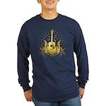 Golden Winged Folk Guitar Long Sleeve Dark T-Shirt