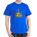 Golden Winged Folk Guitar Dark T-Shirt