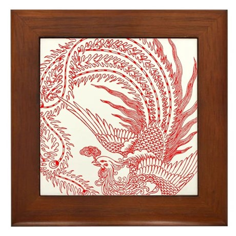 Traditional Chinese Phoenix Framed Tile