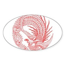 Traditional Chinese Phoenix Oval Decal