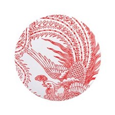 "Traditional Chinese Phoenix 3.5"" Button"