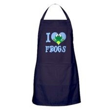 I Love (Heart) Frogs Apron (dark)