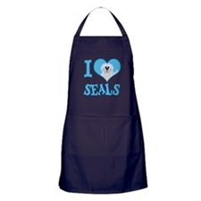I Love (Heart) Seals Apron (dark)