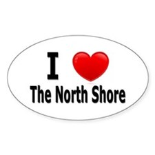I Love The North Shore Oval Decal