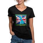 England Map Women's V-Neck Dark T-Shirt