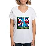England Map Women's V-Neck T-Shirt