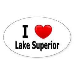 I Love Lake Superior Oval Sticker (10 pk)