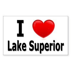I Love Lake Superior Rectangle Decal