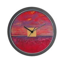 Red Dusk Wall Clock