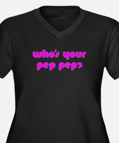 Who's Your Pep Pep? Women's Plus Size V-Neck Dark
