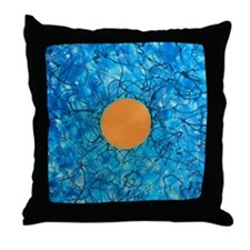Gold Orb and Blue Sky Throw Pillow