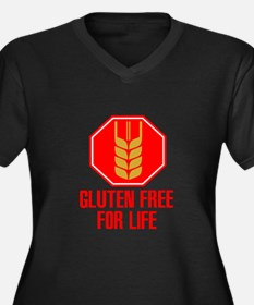 Gluten Free For Life Stop Women's Plus Size V-Neck