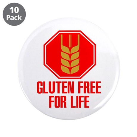 """Gluten Free For Life Stop 3.5"""" Button (10 pack)"""